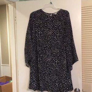 Cato Navy sheer sleeve dress